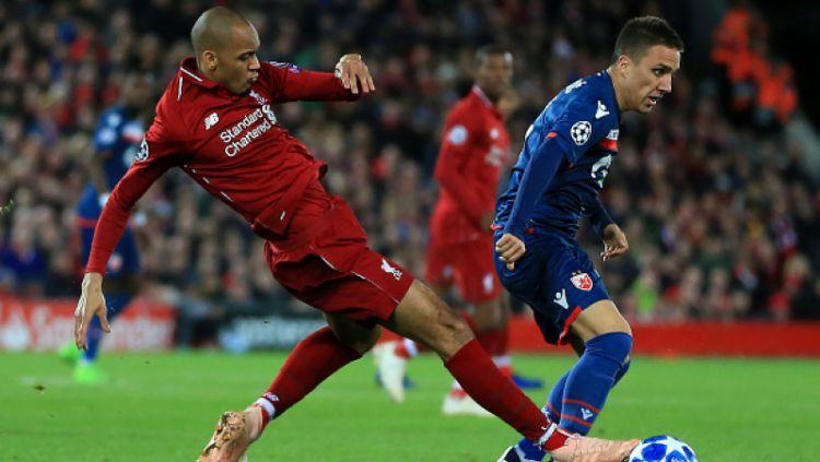 Fabinho disebut sebagai pemain dengan kemampuan spesial oleh mantan gelandang Liverpool dan timnas Spanyol, Xabi Alonso. Copyright: © Getty Images