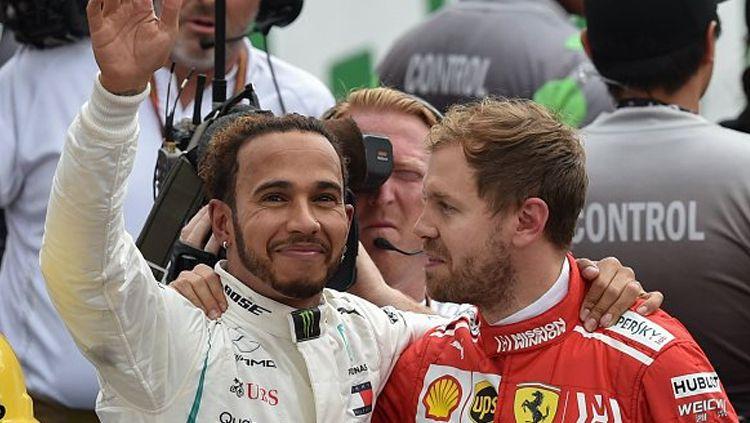 Pembalap Scuderia Ferrari, Sebastian Vettel, angkat bicara soal kehebatan Mercedes dan Lewis Hamilton di Formula 1 2019. Copyright: © twitter.com/bbcf1
