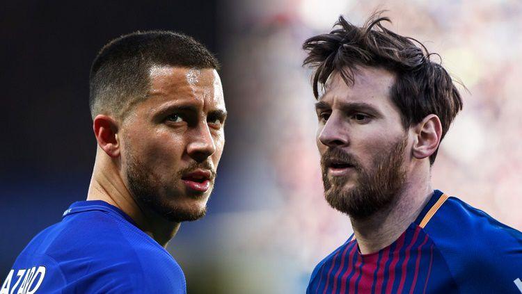 Eden Hazard pernah secara terang-terangan memuji seorang Lionel Messi yang sebentar lagi menjadi rivalnya di LaLiga Spanyol. Copyright: © Goal