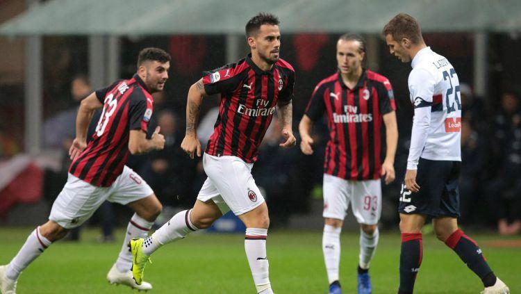 Pemain AC Milan, Suso usai menjebol gawang Genoa, (01/11/18). Copyright: © twitter/supersportstv