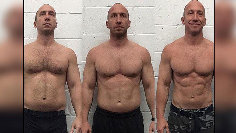 Contoh transformasi Perut dari gemuk ke six pack. Copyright: © Men healths