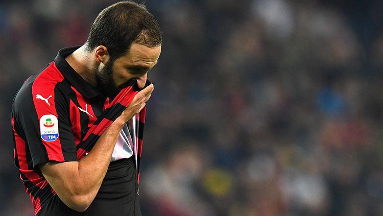 Gonzalo Higuain saat tampil membela AC Milan melawan Udinese. Copyright: © Getty Images/Alessandro Sabattini