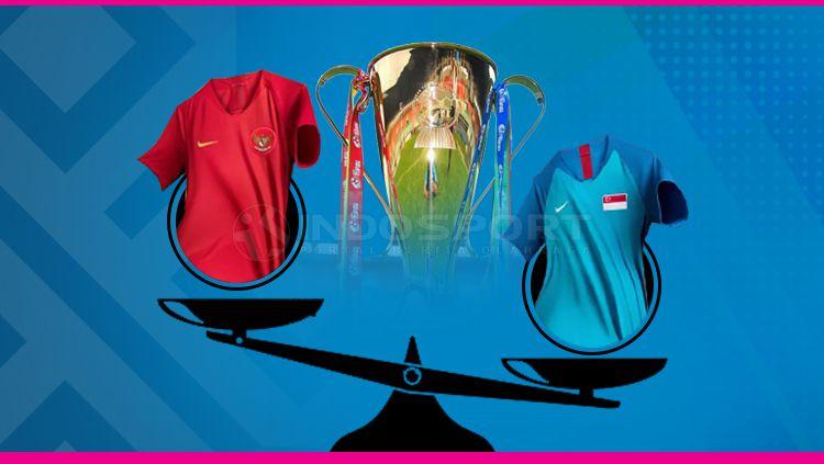 Timbangan jersey Timnas Indonesia dan Singapura Copyright: © Grafis: Eli Suhaeli/INDOSPORT