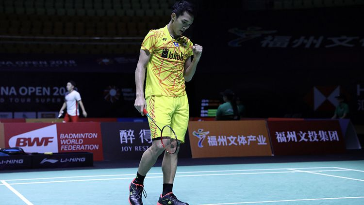 Jonatan Christie dikalahkan Anthony Ginting di Fuzhou China Open 2018 Copyright: © Humas PBSI