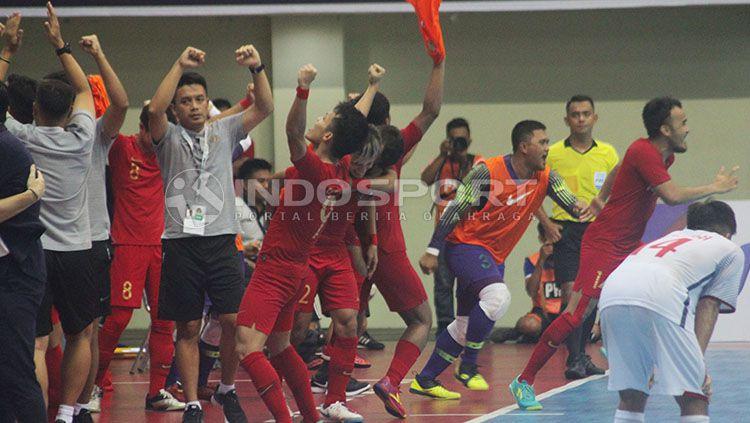 Timnas Futsal Indonesia berhasil mengalahkan Chinese Taipei dengan skor 7-0 pada pertandingan pertama Kejuaraan Futsal 2019 di GOR Universitas Negeri Yogyakarta, Jumat (06/09/19). Copyright: © Ronald Seger/INDOSPORT