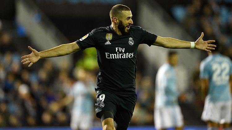 Striker Real Madrid, Karim Benzema, masih jadi pemuncak top skor LaLiga Spanyol dengan torehan lima gol. Octavio Passos/Getty Images. Copyright: © Octavio Passos/Getty Images