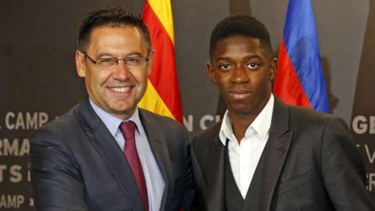 Presiden Barcelona, Josep Bartomeu memuji Ousmane Dembele dan menyebutnya lebih baik ketimbang Neymar yang hengkang ke Paris Saint-Germain. Copyright: © Marca