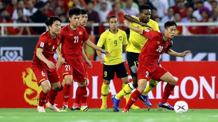 Laga antara Timnas Malaysia vs Vietnam di Piala AFF 2018 Copyright: © Fox Sport Asia