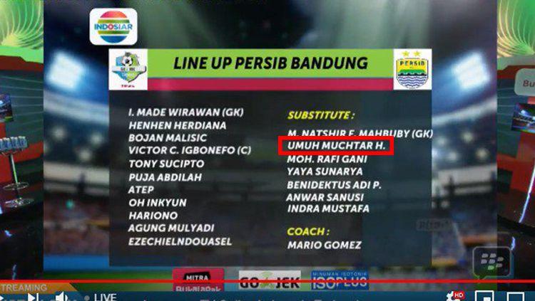 Nama Umuh Muchtar masuk ke dalam daftar pemain cadangan Persib di laga kontra PSIS Semarang. Copyright: © Istimewa