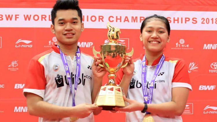Leo Rolly Carnando/Indah Cahya Sari Jamil sukses raih emas BWF World Junior Championships 2018. Copyright: © Instagram/Badminton Indonesia