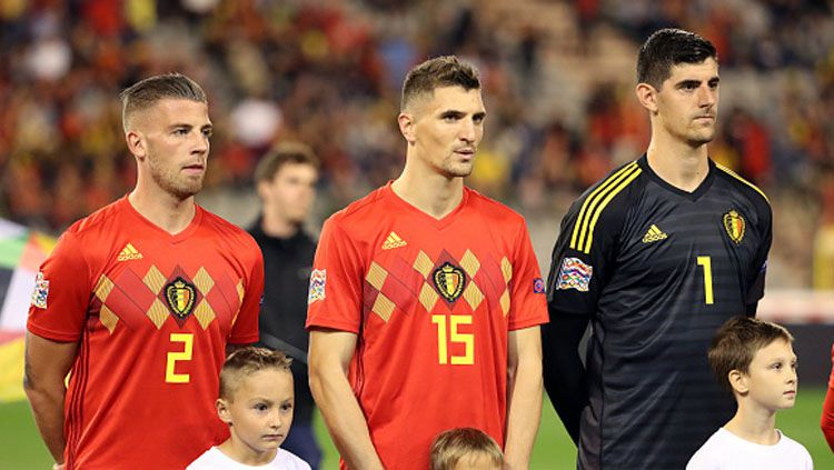 Thomas Meunier defender of Belgium and Thibaut Courtois, 3 para penggawa Timnas Belgia. Copyright: © Getty Images
