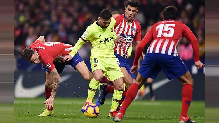 Kehancuran Barcelona dimaknai berbeda oleh Atletico Madrid yang tak hanya senang akan kemenangan, melainkan juga pecahkan rekor gila LaLiga Spanyol. Copyright: © Getty Images