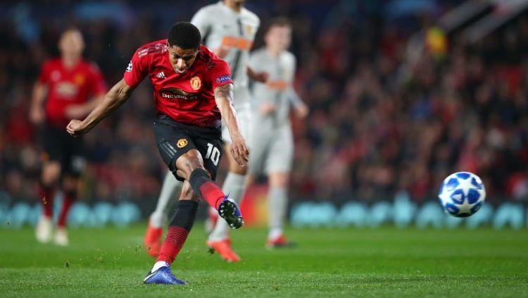 Marcus Rashford dalam pertandingan Liga Champions antara Manchester United vs Young Boys. Copyright: © Getty Images