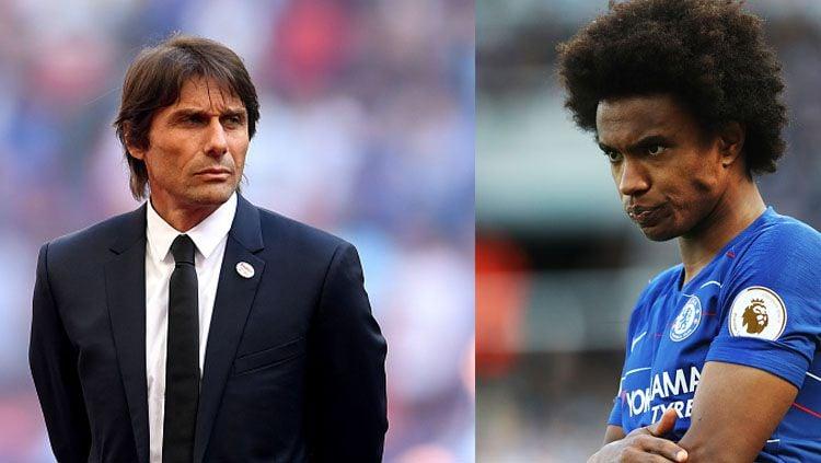 Mantan pelatih Chelsea, Antonio Conte mendapat komentar dari Willian. Copyright: © INDOSPORT