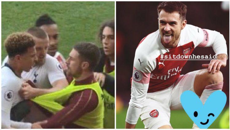 Aaron Ramsey terlibat ribut-ribut dengan para pemain Tottenham Hotspur. Copyright: © Daily Mail/Instagram @aaronramsey