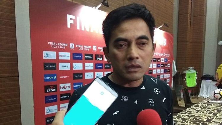 pelatih PSS Sleman Seto Nurdiantoro jelang laga final Liga 2 2018. Copyright: © Ronald Seger Prabowo/INDOSPORT