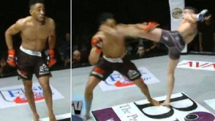 Petarung Mixed Martial Arts (MMA), Joe Harding mengalami kekalahan memalukan usai melakukan tingkah konyol dengan berjoget di tengah pertarungan. Copyright: © mirror