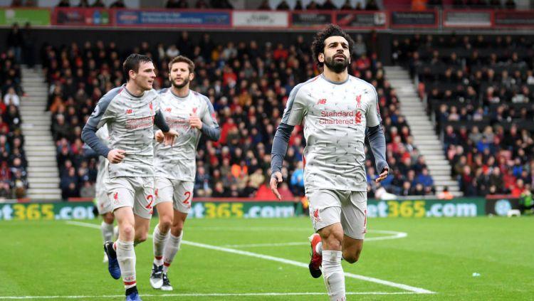 Mohamed Salah mampu menciptakan hattrick untuk Liverpool ke gawang Bournemouth, Sabtu (08/12/18). Copyright: © twitter.com/LFC