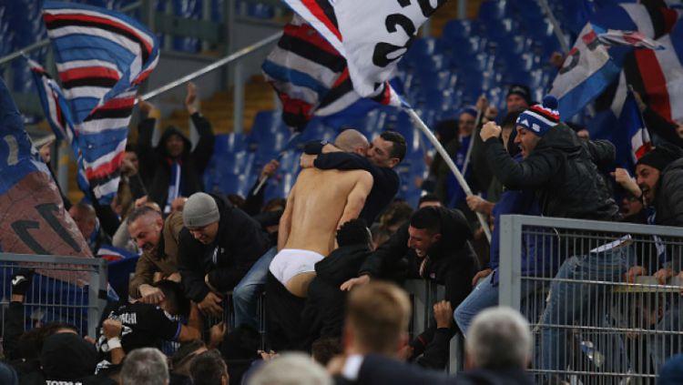 Riccardo Saponara merayakan selebrasinya. Copyright: © Getty Images