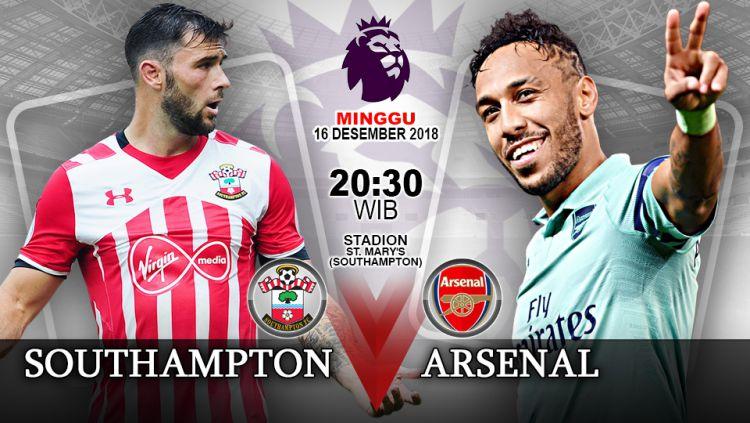 Pertandingan Southampton vs Arsenal. Copyright: © Indosport.com
