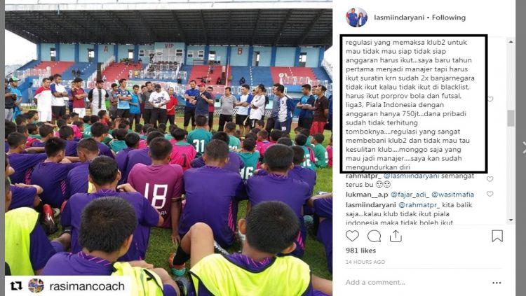 Komentar mantan manjer Persibara tentang Piala Indonesia 2018 Copyright: © Instagram
