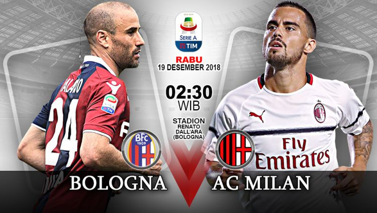 Pertandingan Bologna vs AC Milan. Copyright: © Indosport.com