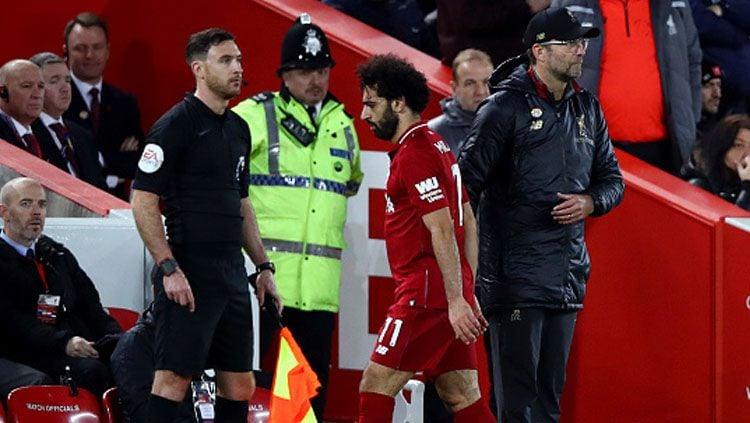 Mohamed Salah dan Jurgen Klopp, pemain megabintang dan pelatih Liverpool. Copyright: © Getty Images