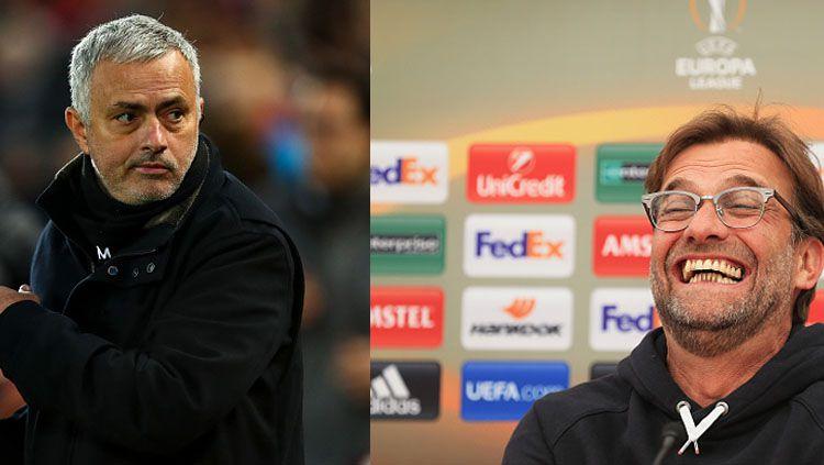 Mantan pelatih Manchester United, Jose Mourinho dan Jurgen Klopp, pelatih Liverpool. Copyright: © INDOSPORT