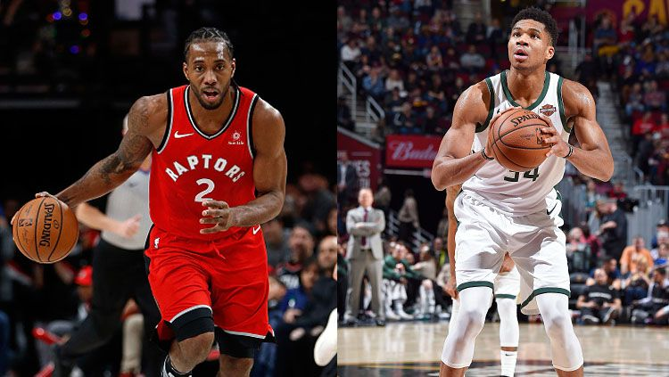 Bintang basket Toronto Raptors, Kawhi Leonard dan Giannis Antetokounmpo, bintang basket Milwaukee Bucks. Copyright: © Getty Images