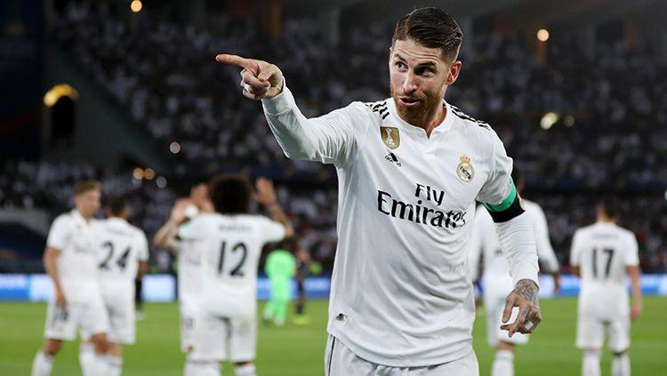 Sergio Ramos berselebrasi usai mencetak gol. Copyright: © Francois Nel/Getty Images