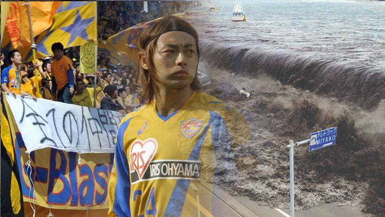 Ilustrasi salah satuh klub sepak bola di Jepang terkena Tsunami Copyright: © INDOSPORT
