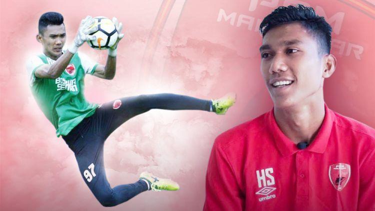 Penjaga gawang milik klub Liga 1 PSM Makassar, Hilmansyah, mengaku sempat mengidolakan sosok Markus Horison sebelum kini beralih ke Muhammad Ridho. Copyright: © Indosport.com