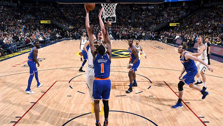 Pertandingan antara Denver Nuggets vs New York Knicks. Copyright: © Getty Images