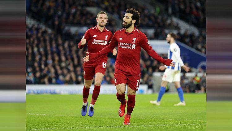 Mohamed Salah berhasil bawa Liverpool unggul 1-0 Copyright: © INDOSPORT