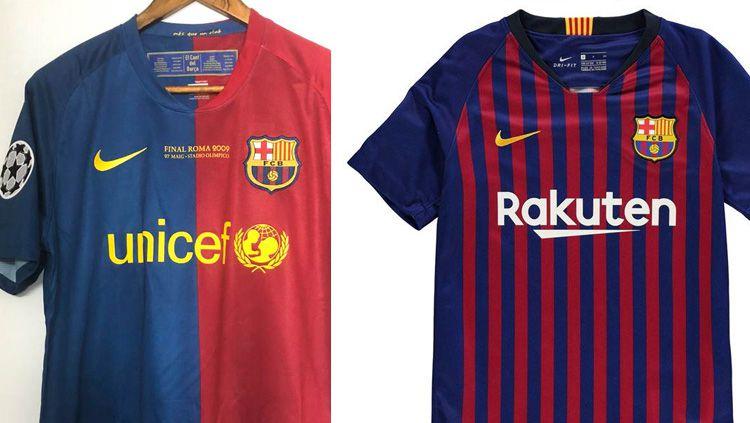 Perbedaan jersey Barcelona 2009 dan 2019 Copyright: © INDOSPORT