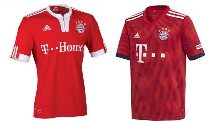 Perbedaan jersey Bayern Munchen 2009 dan 2019 Copyright: © INDOSPORT