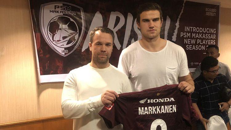 Agen Jonne Lindblom (kiri) dan striker baru PSM Makassar Eero Markkanen (kanan). Copyright: © Twitter/@JonneLindblom