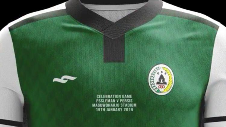 Jersey khusus PSS Sleman untuk laga Celebration Game Cinta dan Dedikasi 2. Copyright: © Twitter/@apparel_sembada