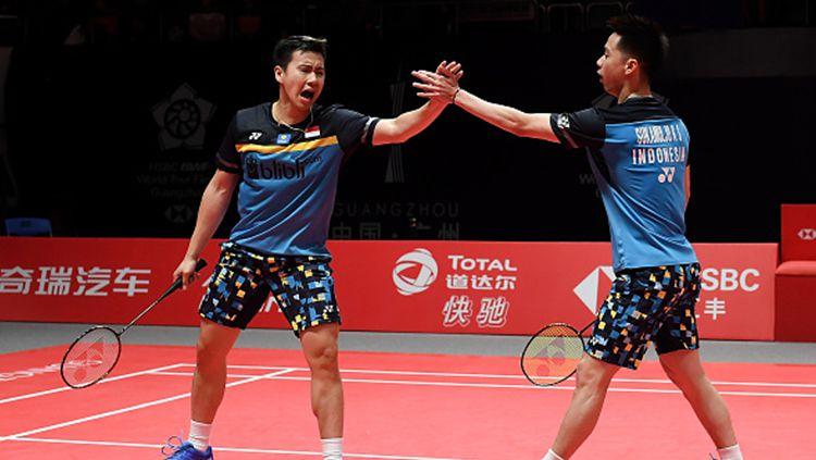 Marcus Fernaldi Gideon/Kevin Sanjaya Sukamuljo keluar sebagai juara Malaysia Masters 2019 Copyright: © INDOSPORT