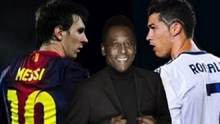 Lionel Messi, Pele, dan Cristiano Ronaldo Copyright: © Soccerinfomania