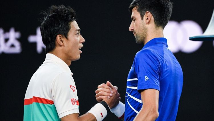 Kei Nishikori dan Novak Djokovic di Australia Terbuka 2019 Copyright: © Euro Sport