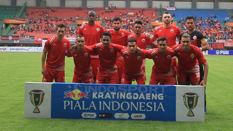 Foto para pemain Persija Jakarta sebelum laga pertandingan sore tadi Copyright: © Muhammad Nabil/INDOSPORT