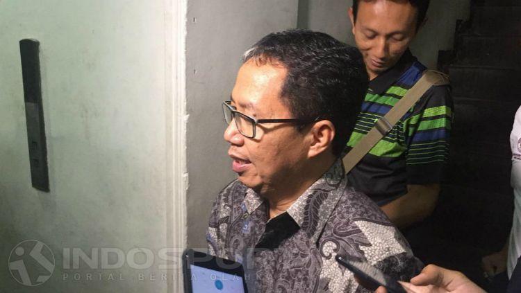Plt Ketua Umum PSSI, Joko Driyono usai memenuhi panggilan Satgas Antimafia Bola, Kamis (24/01/19). Copyright: © Petrus Manus Da' Yerimon/INDOSPORT