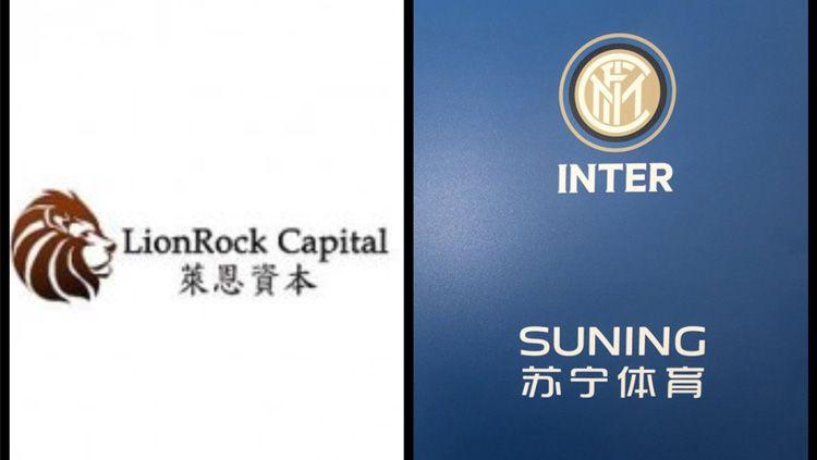 Ilustrasi logo perusahaan Tiongkok LionRock Capital dan klub Serie A Italia Inter Milan. Copyright: © fcinter1908.it