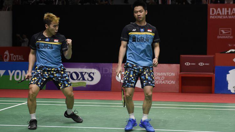 Pasangan ganda putra Indonesia, Marcus Fernaldi Gideon/Kevin Sanjaya Sukamuljo berhasil melaju ke final Indonesia Masters 2019 Copyright: © Herry Ibrahim/INDOSPORT