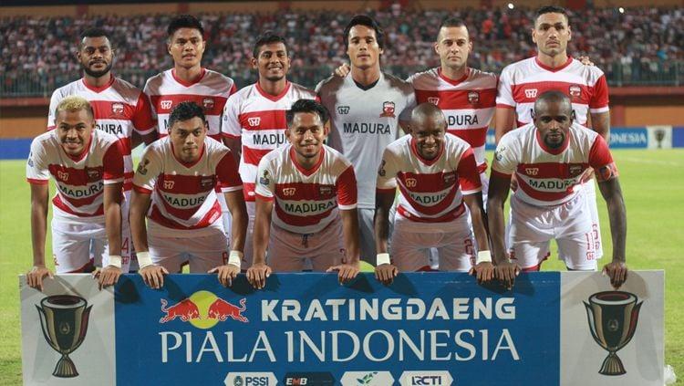 Skuat Madura United vs Cilegon United di Piala Indonesia 2018/2019. Copyright: © Twitter/@MaduraUnitedFC