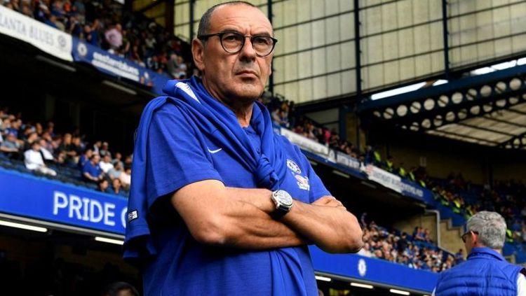 Maurizio Sarri pelatih Chelsea dikabarkan akan diresmikan menjadi pelatih Juventus pada akhir pekan ini. Copyright: © GettyImages