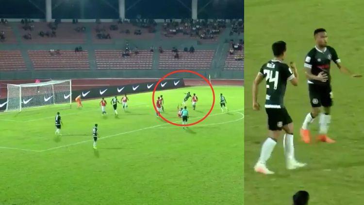 Momen Sadil Ramdani mencetak gol ke gawang lawan di liga Malaysia Copyright: © foxsportsasia.com