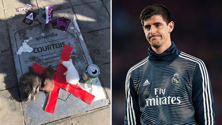 Plakat nama Courtois kembali dirusak oleh fans Atletico Madrid yang masih merasa sakit hati Copyright: © Sport Bible
