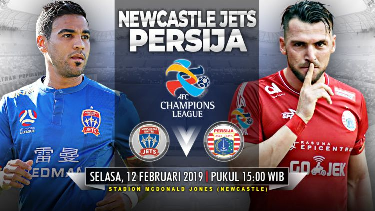 Pertandingan Newcastle United Jets vs Persija Jakarta. Copyright: © Indosport.com